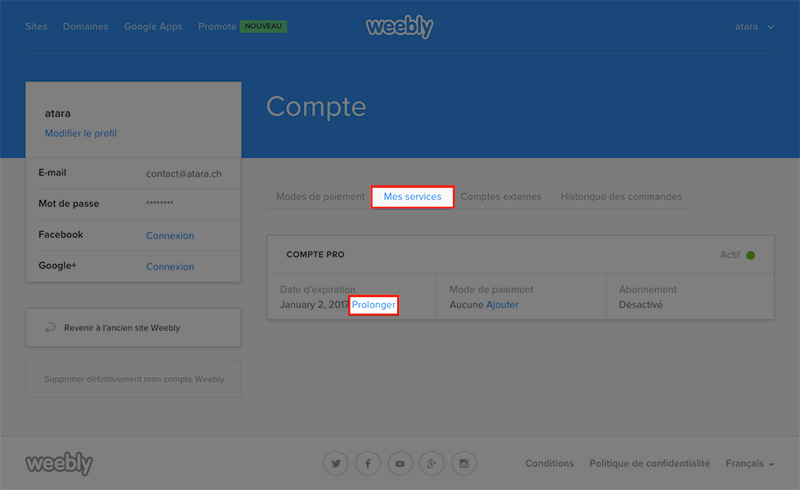 Weebly renouvelement service web