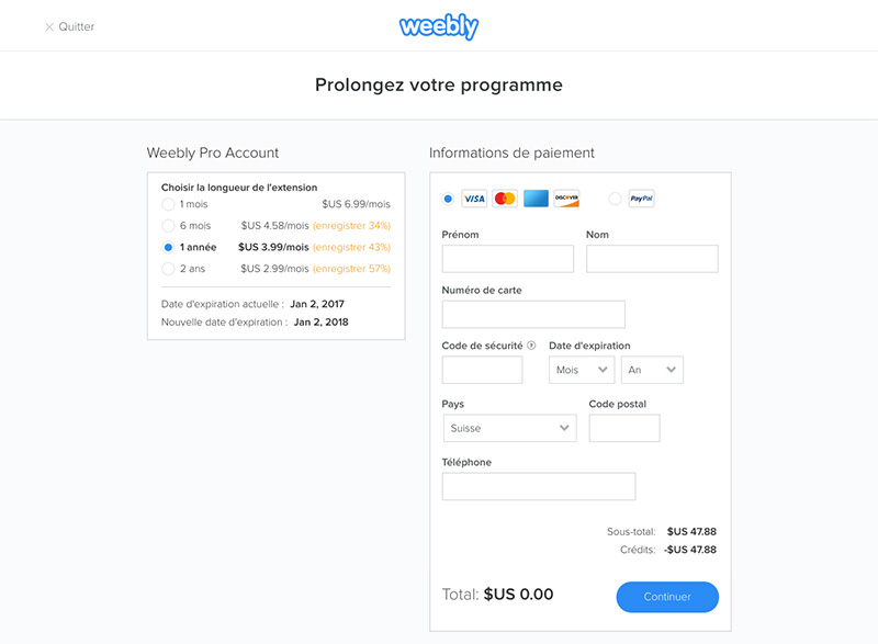 Renouvellement weebly prix
